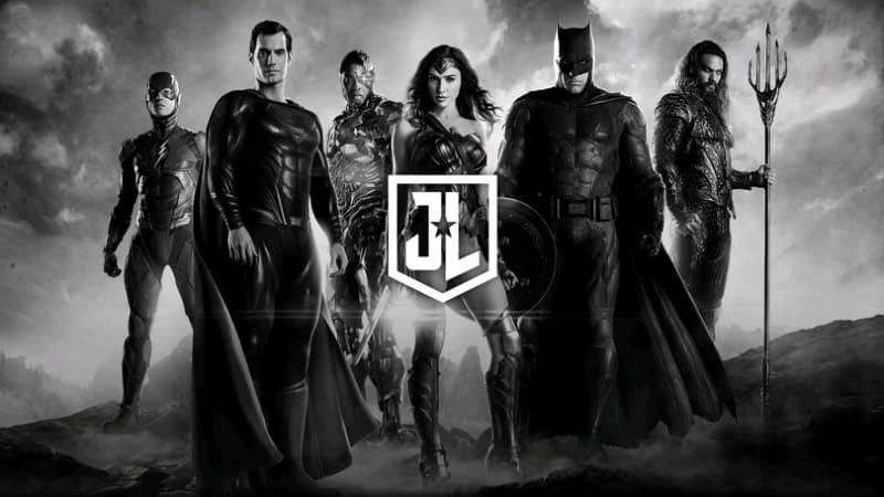 Постер Лига справедливости Зака Снайдера — черно-белая версия